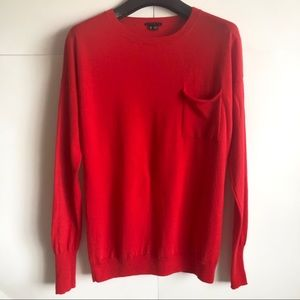 Theory Red 100% Wool Pullover Long Sleeves Sweater